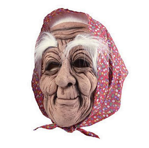 Old Lady In Headscarf Mask