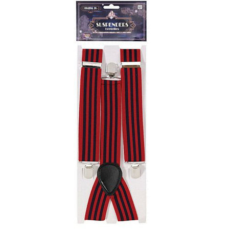 1920's Red And Blue Striped Braces