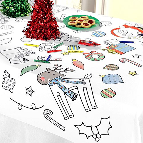 Colour-In Christmas Paper Tablecloth - 1.2m
