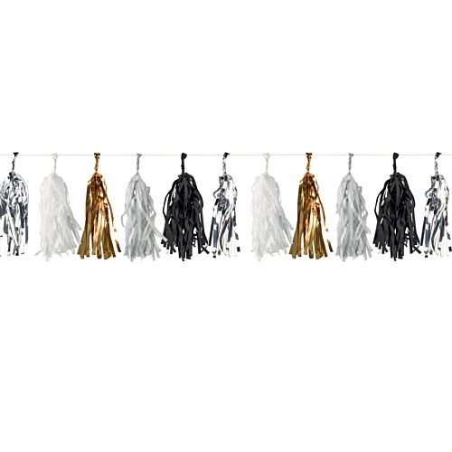 Gold, Silver, Black and White Tassel Garland - 3m