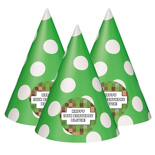 Pixel Blocks Personalised Cone Hats - Pack of 8