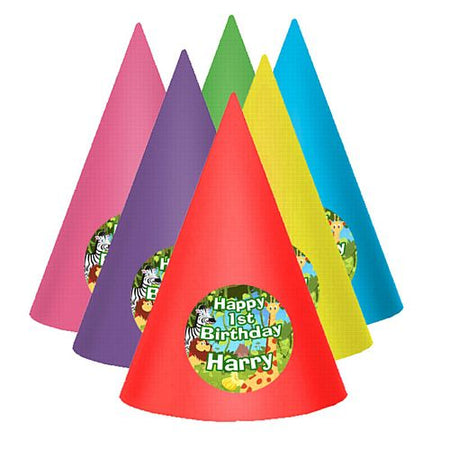Jungle Personalised Cone Hats- Pack of 8