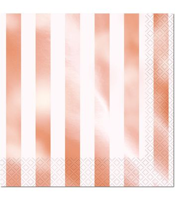 Rose Gold Striped Luncheon Napkins - Pack of 16