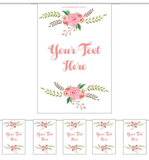 Personalised Boho Flowers Bunting - 3m