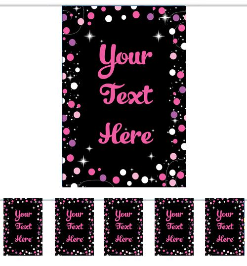 Personalised Pink Birthday Sparkle Bunting - 3m