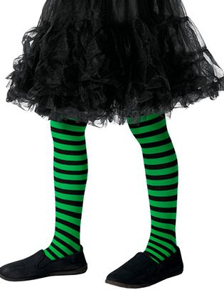 Children's Black And Green Striped Tights