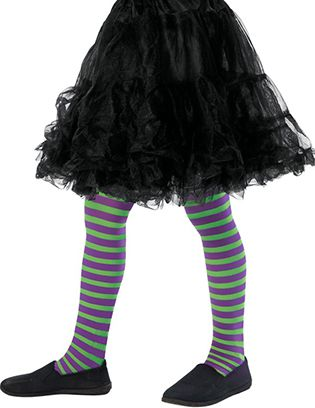 Children's Purple And Green Striped Tights