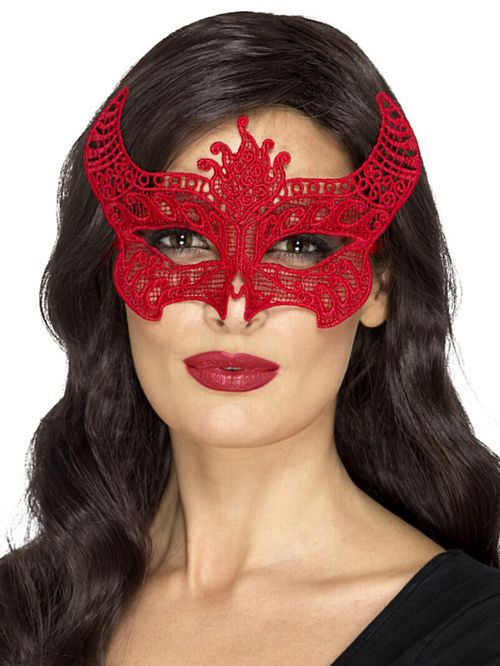 Red Lace Filigree Devil Mask