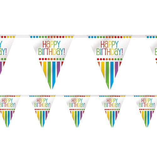 Rainbow Birthday Plastic Flag Bunting - 3.7m