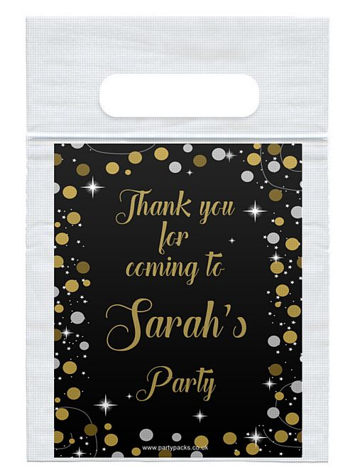 Personalised Birthday Sparkle Gold Card Insert With Sealed Party Bag- Each