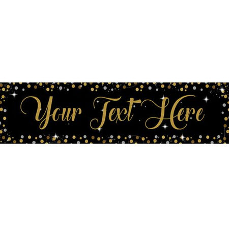 Birthday Sparkle Gold Personalised Banner - 1.2m