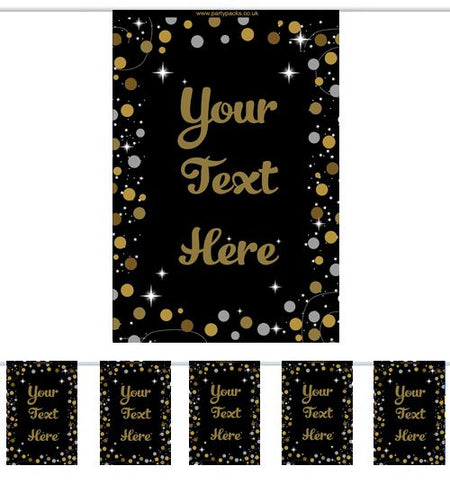 Personalised Gold And Black Birthday Sparkle Bunting - 3m