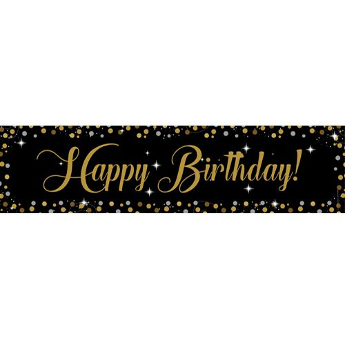 Birthday Sparkle Gold Happy Birthday Banner - 1.2m