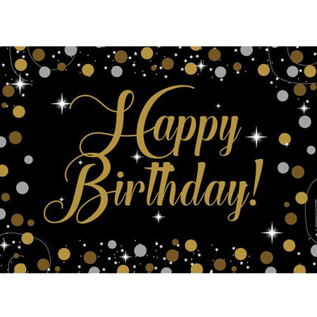 Birthday Sparkle Gold Happy Birthday Poster - A3
