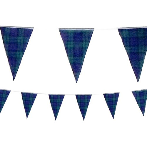 Black Watch Tartan Fabric Bunting - 8m