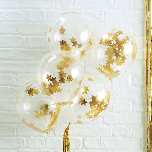 "Gold Star Shaped Confetti Filled Balloons 12"" - Pack Of 5"