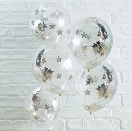 "Silver Star Shaped Confetti Filled Balloons 12"" - Pack Of 5"