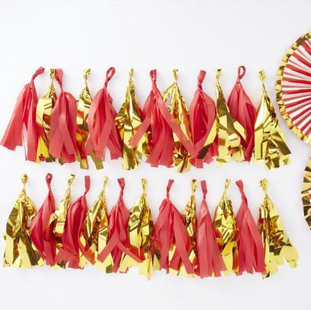 Red And Gold Foil Tassel Garland - 2m
