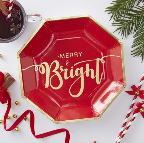 Red Foiled Merry And Bright Paper Plates - 23cm - Pack Of 8