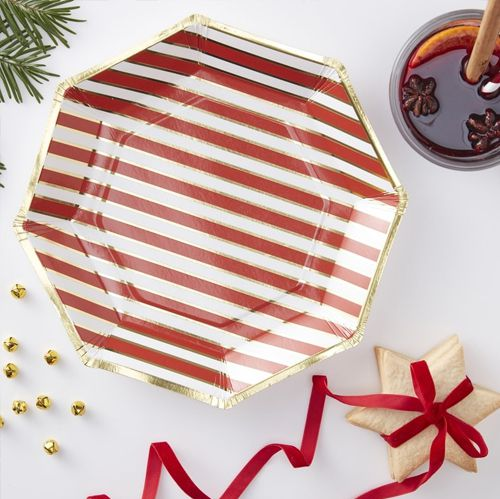 Candy Cane Stripe Paper Plates - 23cm - Pack Of 8