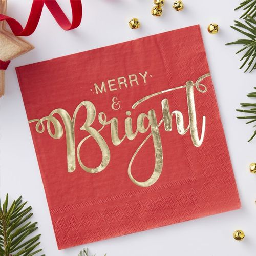 Red Foil Merry And Bright Paper Napkins - 33cm - Pack Of 20