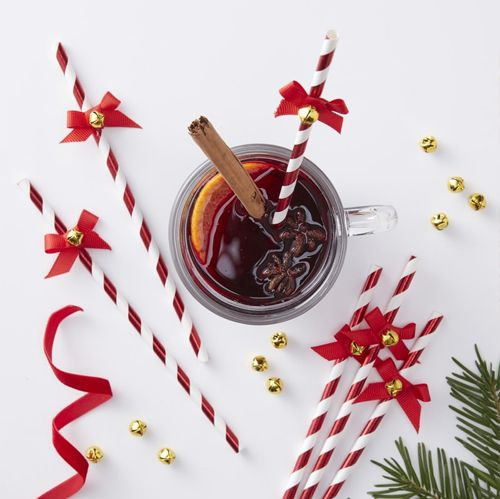 Red Striped Straws With Bow and Jingle Bell - Pack Of 10