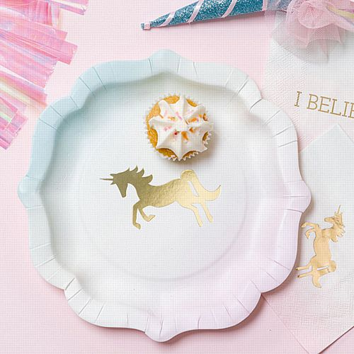 We Heart Unicorns Plates - Pack Of 12