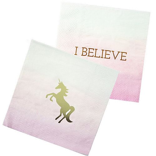 We Heart Unicorns Cocktail Napkins - Pack of 16