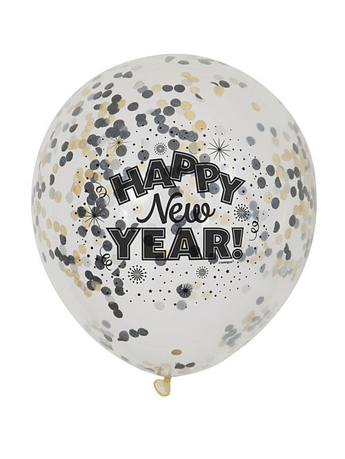 "Clear Happy New Year Confetti Balloons 12"" - Pack of 6"
