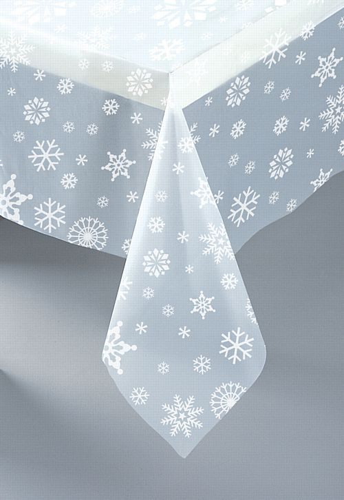 Clear Snowflakes Plastic Tablecloth 1.3m x 2.7m