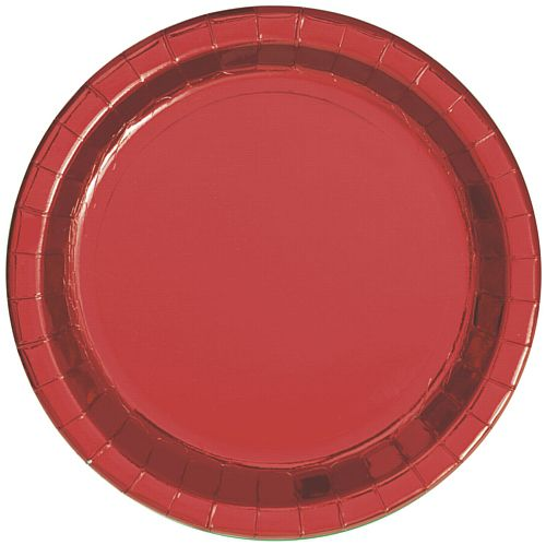 Red Metallic Foil Plates - 23cm - Pack of 8