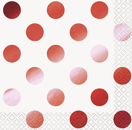 Red Metallic Foil Dots Paper Napkins - Pack of 16