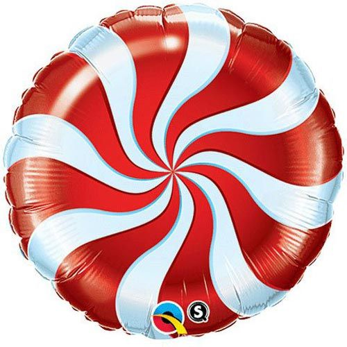 Candy Swirl Red Foil Balloon 18""