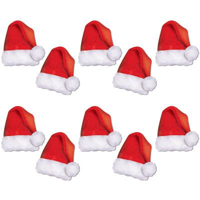 "Mini Santa Hat Card Cutouts 5"" - Pack Of 10"