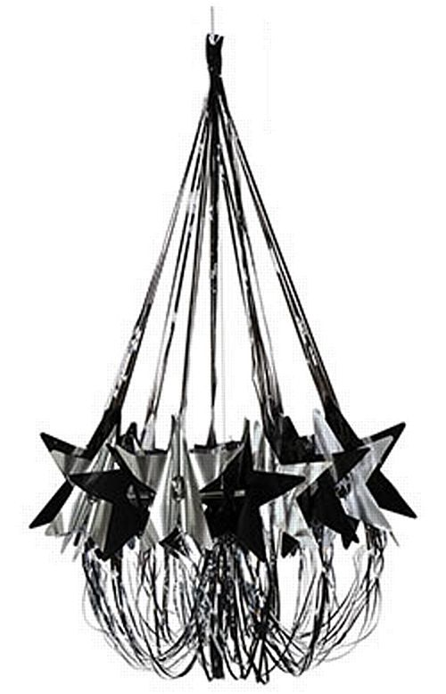 Black And Silver Star Chandelier - 89cm