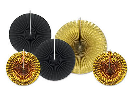 Black And Gold Assorted Fan Decorations - Pack Of 5
