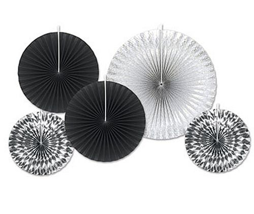 Black And Silver Assorted Fan Decorations - Pack Of 5