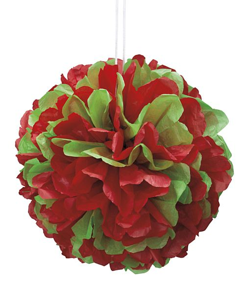 Red And Green Pom Pom Tissue Decoration - 35cm