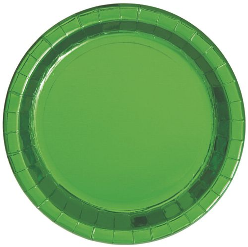 Green Metallic Foil Plates - 23cm - Pack of 8