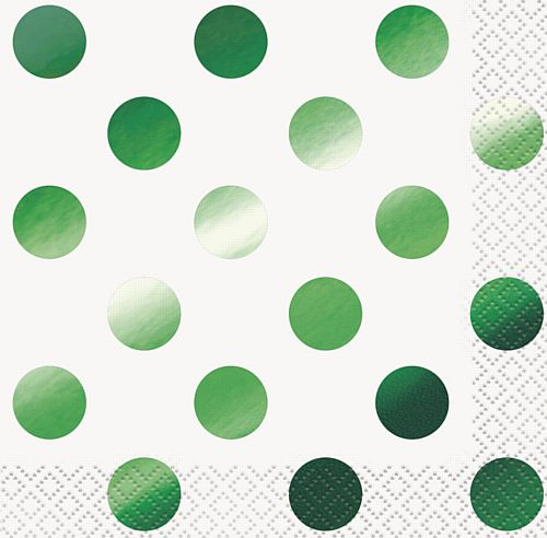 Green Metallic Foil Dots Paper Napkins - Pack of 16