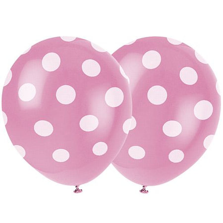 Hot Pink Dots Balloons 12 Pack Of 6