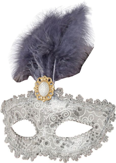 Silver Decorative Eyemask With Feather And Jewel