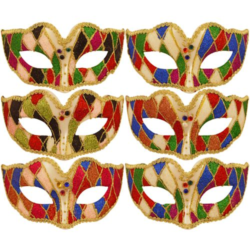 Assorted Multi Colour Harlequin Eyemask - Each