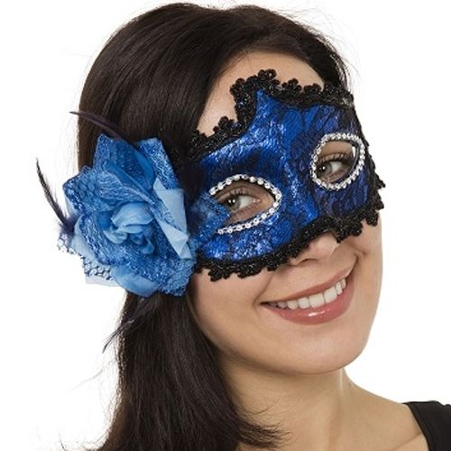 Blue Braided Eye Mask With Side Flower