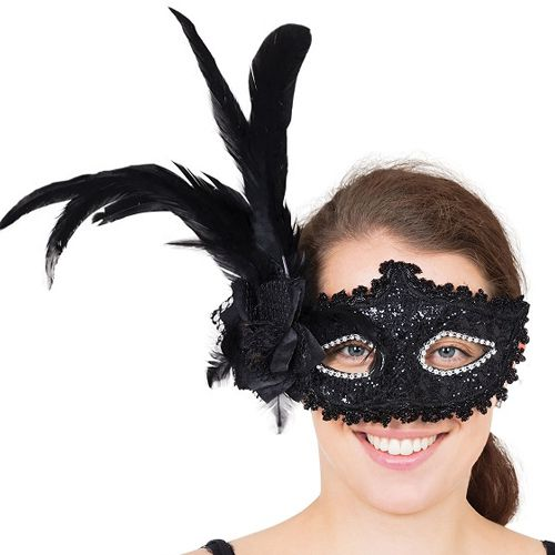 Black Tall Feather Eye Mask