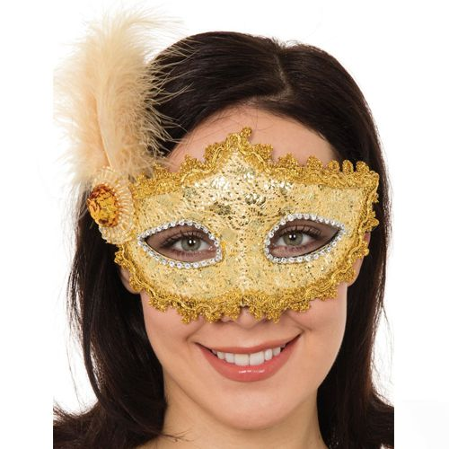 Gold Braided Eyemask With Feather And Jewel