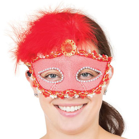 Red Tall Feather Eye Mask