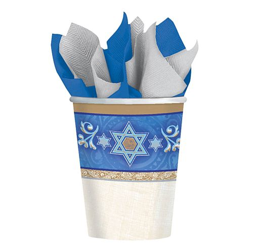 Hanukkah Paper Cups - 266ml - Pack of 8