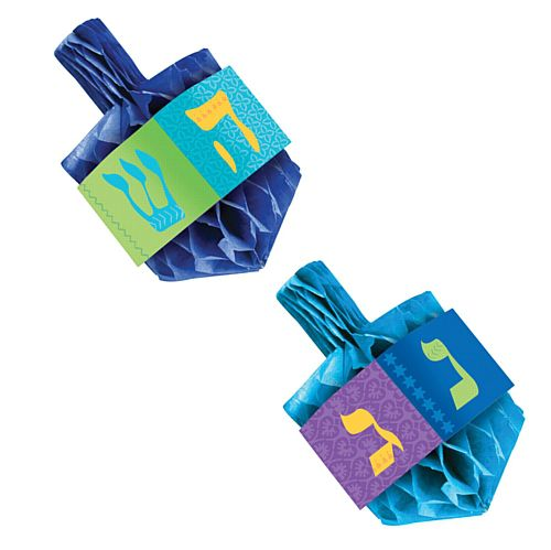 Hanukkah Celebrations Large Dreidel Honeycomb Centrepieces - 15cm - Pack of 2