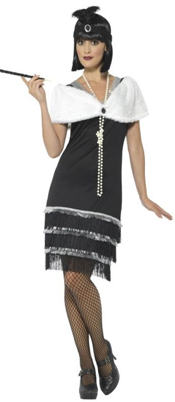 Flapper Costume With Fur Stole